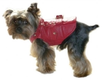 thriller red leather motorcycle dog jacket