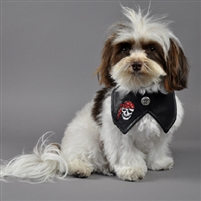 faux leather biker dog bandana