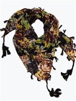 black floral designer dog scarf for dogs