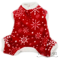 red fleece snowflakes dog pajamas