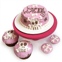 pink punk rock skull dog birthday cake