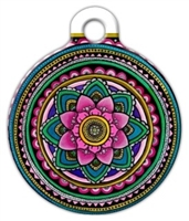 lotus mandala dog id tag