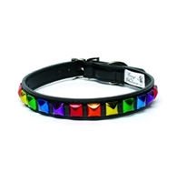 rainbow pyramid stud dog collar