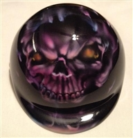 airbrushed purple flaming skull dog helmet