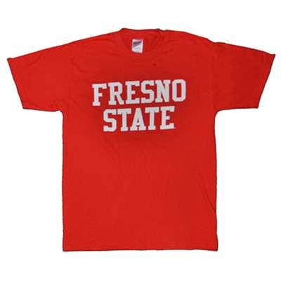 Fresno State T Shirt Block Print Red