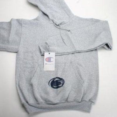 Penn State Pocket Logo Hooded Sweatshirt By Champion - Grey Oxford Hoody