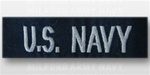 US NAVY Branch Tape:  US NAVY embroidered for COVERALL - Enlisted - Silver