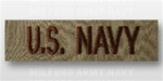 US NAVY Branch Tape:  US NAVY embroidered on DESERT