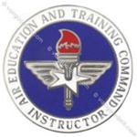 USAF Badges Non-Spec. Enamel: Air Education & Training Command - Instructor - With Clutchback - Mirror Finish