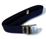 Blue Cotton Web Belt with Mirror Finish Buckle & Tip - 44 Inch Cut