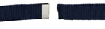 "Blue Cotton Web Belt with 1 1/4"" Mirror Finish Tip - 44 Inch Cut"