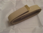 "USMC Belt: Khaki Web Belt W/ Anodized Tip Only - No Buckle - 55"" Cut - Extra Long - Cotton"
