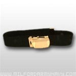US Army Belt with Buckle: Black Cotton Web with 22k Gold Flash Buckle & Tip - 44 Inch Cut