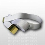 US Army Belt with Buckle: White Cotton Web Belt with Brass Buckle & Tip - Male - 44 Inch Cut