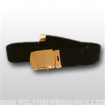 US Army Belt with Buckle: Black Elastic with 22k Gold Flash Buckle & Tip - Male - 44 Inch Cut
