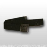 US Army Belt with Buckle: Black Cotton Web with Open Face Black Buckle & Tip - Male - 44 Inch Cut