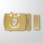USCG CPO E9 Emblem Gold Satin Buckle and Tip