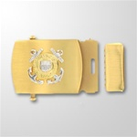 USCG Enlisted Emblem Gold Satin Buckle and Tip