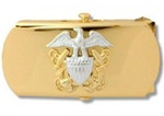 "US Navy Buckle for Male Personnel: Commissioned Officer - 3"" - 1 1/4"" Wide - Gold"