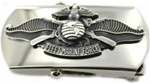 "US Navy Buckle for Male Personnel: Fleet Marine Force - Enlisted - 3"" - 1 1/4"" Wide - Silver"
