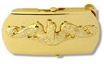 "US Navy Buckle for Male Personnel: Submarine - Officer - 3"" - 1 1/4"" Wide - Gold"