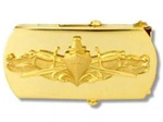 "US Navy Buckle for Male Personnel: Surface Warefare - Officer - 3"" - 1 1/4"" Wide - Gold"
