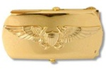 "US Navy Buckle for Male Personnel: Flight - Officer - 3"" - 1 1/4"" Wide - Gold"