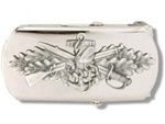 "US Navy Buckle for Male Personnel: Seabee - Enlisted - 3"" - 1 1/4"" Wide - Silver"