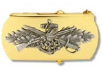 "US Navy Buckle for Male Personnel: Seabee - Chief Petty Officer - 3"" - 1 1/4"" Wide - Gold"