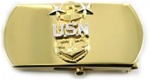 "US Navy Buckle for Male Personnel: E-9 Master Chief - 3"" - 1 1/4"" Wide - Gold"