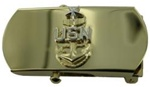 "US Navy Buckle for Male Personnel: E-8 Senior Chief - 3"" - 1 1/4"" Wide - Gold"
