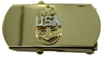 "US Navy Buckle for Male Personnel: E-7 Chief - 3"" - 1 1/4"" Wide - Gold"