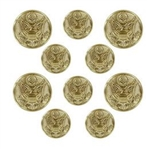 US Army Button Set:  4-36 Ligne and 6-25 Ligne Eagle - 22k - for EM Blue Dress or Green Service - Male