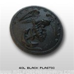 USMC Buttons: 40 Ligne Black Plastic - 2 Each