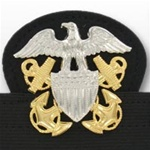 US Navy Cap Device On Stretch Band: Officer Regular (Mounted)