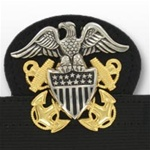 US Navy Cap Device On Stretch Band: Officer - High Relief (Mounted)