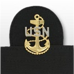 US Navy Cap Device On Stretch Band: E-7 Chief Petty Officer (CPO) (Mounted)