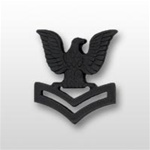 US Navy Cap Device Subdued Black Metal: E-5 Petty Officer Second Class (PO2)