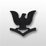 US Navy Cap Device Subdued Black Metal: E-4 Petty Officer Third Class (PO3)