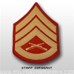 USMC Male Gold/Red Shoulder Insignia: E-6 Staff Sergeant (SSgt)