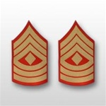 USMC Male Gold/Red Shoulder Insignia: E-8 First Sergeant (1stSgt)