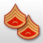 USMC Evening Dress Shoulder Insignia: E-6 Staff Sergeant (SSgt) - Gold on Red Embroidered - Male