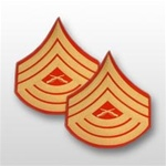 USMC Evening Dress Shoulder Insignia: E-8 Master Sergeant (MSgt) - Gold on Red Embroidered - Male