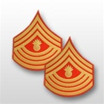 USMC Evening Dress Shoulder Insignia: E-9 Master Gunnery Sergeant (MGySgt) - Gold on Red Embroidered - Male
