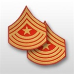 USMC Evening Dress Shoulder Insignia: E-9 Sergeant Major (SgtMaj) - Gold on Red Embroidered - Male