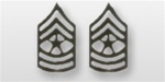 US Army Enlisted Rank - Superior Subdued Black Metal Collar Insignia: E-9 Sergeant Major (SGM)