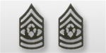 US Army Enlisted Rank - Superior Subdued Black Metal Collar Insignia: E-9 Command Sergeant Major (CSM)