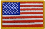 US Flag Patch: American Flag 2î X 3î - Gold W/ Hook Closure - 1 Each