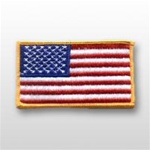 "US Flag Patch: American Flag 3"" x 5"" Gold Merrowed Edge - 1 Each"