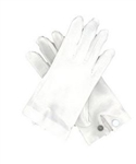 White Cotton Gloves with Rubber Gripper and Snap-Closure